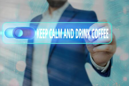Conceptual hand writing text caption inspiration showing Keep Calm And Drink Coffee. Business concept meaning encourage an individual to enjoy caffeine drink and relax written on sticky note, reminder cork background with space
