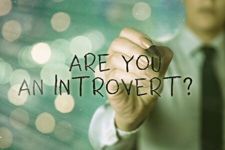 Word writing text Are You An Introvertquestion. Business photo showcasing an individual who tends to turn inward mentally