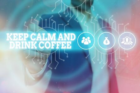 Hand writing text caption inspiration showing I Love Keep Calm And Drink Coffee. conceptual meaning encourage an individual to enjoy caffeine drink and relax Loving written on sticky note, reminder isolated background with space