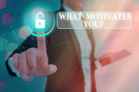 Writing note showing What Motivates Youquestion. Business concept for know reasons why you want to wake up each morning