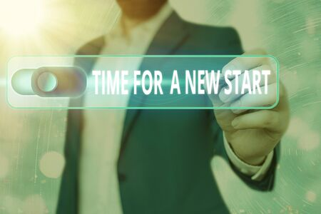Word writing text Time For A New Start. Business photo showcasing something is supposed to begin right now Fresh job