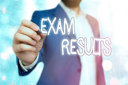 Handwriting text Exam Results. Conceptual photo An outcome of a formal test that shows knowledge or ability