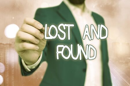 Handwriting text Lost And Found. Conceptual photo a place where lost items are stored until they reclaimed