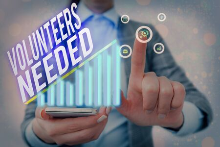 Word writing text Volunteers Needed. Business photo showcasing need work or help for organization without being paid Imagens