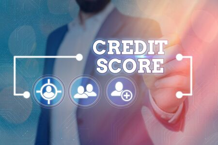 Word writing text Credit Score. Business photo showcasing Represent the creditworthiness of an individual Lenders rating