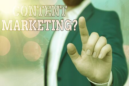 Text sign showing Content Marketing Question. Business photo showcasing involves creation and sharing of online material