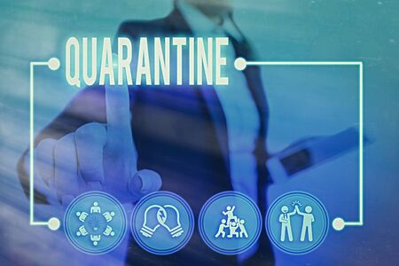 Conceptual hand writing showing Quarantine. Concept meaning restraint upon the activities of an individual or the transport of goods