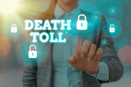 Handwriting text writing Death Toll. Conceptual photo the number of deaths resulting from a particular incident