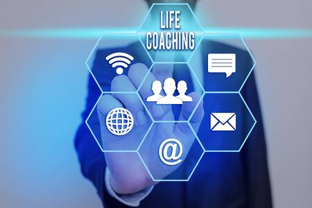 Text sign showing Life Coaching. Business photo showcasing an individual employed to help showing attain their goals in career