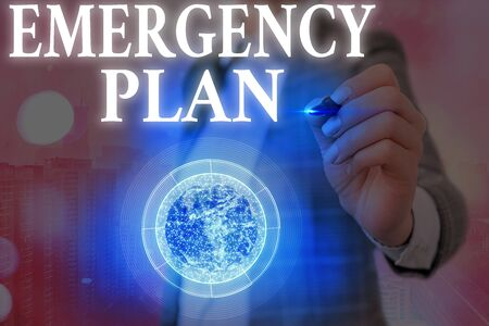 Text sign showing Emergency Plan. Business photo showcasing procedures for handling sudden or unexpected situations