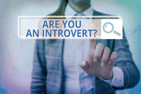 Text sign showing Are You An Introvertquestion. Business photo showcasing an individual who tends to turn inward mentally