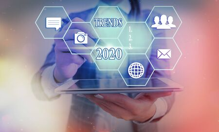 Text sign showing Trends 2020. Business photo showcasing general direction in which something is developing or changing Standard-Bild