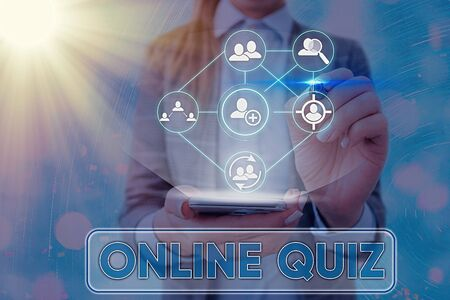 Handwriting text writing Online Quiz. Conceptual photo game or a mind sport that are published on the Internet Banco de Imagens