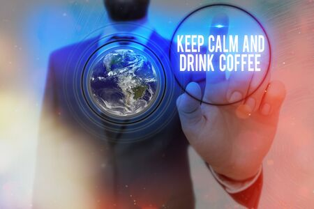 Conceptual announcement text caption inspiration showing Keep Calm And Drink Coffee. Business concept meaning encourage an individual to enjoy caffeine drink and relax written on old brick background with space Фото со стока