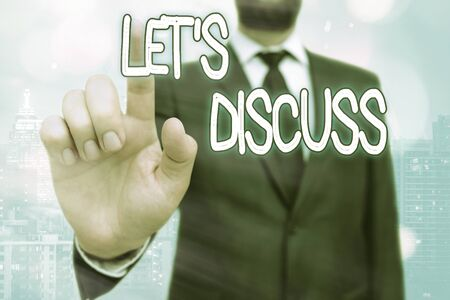 Writing note showing Let S Discuss. Business concept for asking someone to talk about something with an individual or showing