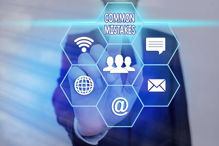 Text sign showing Common Mistakes. Business photo showcasing actions that are often used interchangeably with error Фото со стока
