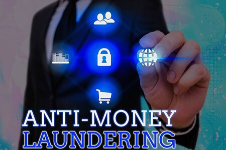 Writing note showing Anti Money Laundering. Business concept for regulations stop generating income through illegal actions