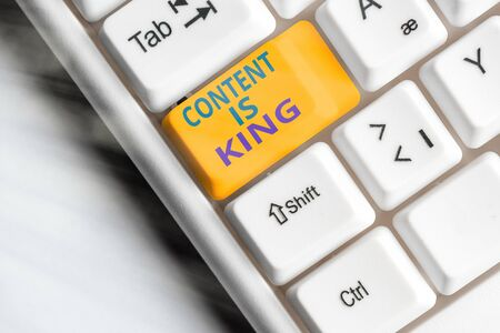 Word writing text Content Is King. Business photo showcasing believe that content is central to the success of a website