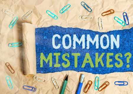 Conceptual hand writing showing Common Mistakes Question. Concept meaning repeat act or judgement misguided making something wrong Фото со стока