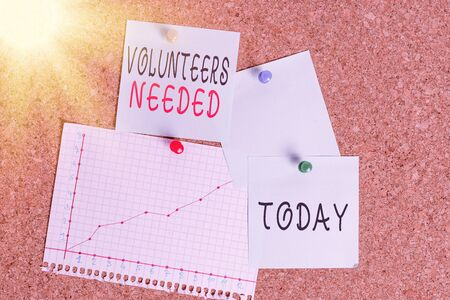 Word writing text Volunteers Needed. Business photo showcasing need work or help for organization without being paid Corkboard color size paper pin thumbtack tack sheet billboard notice board