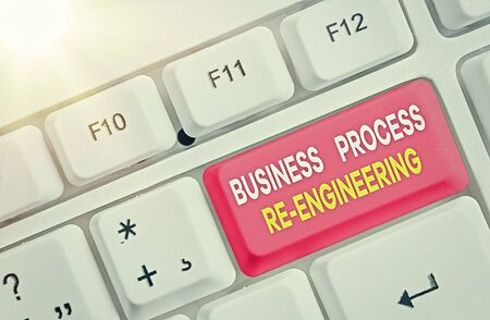 Word writing text Business Process Re Engineering. Business photo showcasing the analysis and design of workflows Фото со стока