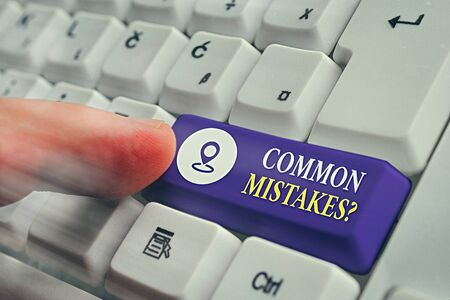 Handwriting text Common Mistakes Question. Conceptual photo repeat act or judgement misguided making something wrong Фото со стока