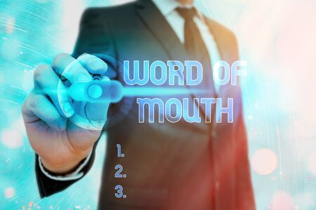 Writing note showing Word Of Mouth. Business concept for information that is transmitted without being written down 免版税图像