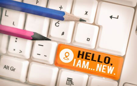 Word writing text Hello I Am New. Business photo showcasing used greeting or begin telephone conversation