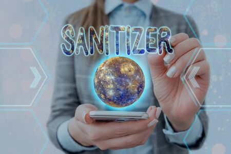 Handwriting text writing Sanitizer. Conceptual photo liquid or gel generally used to decrease infectious agents