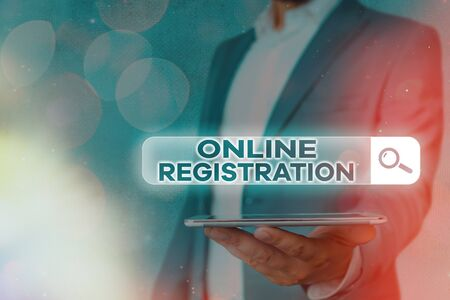 Handwriting text Online Registration. Conceptual photo System for subscribing or registering via the Internet