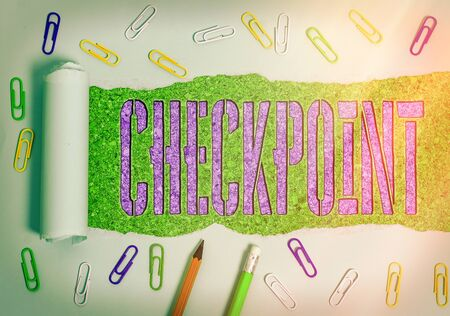 Conceptual hand writing showing Checkpoint. Concept meaning manned entrance, where travelers are subject to security checks