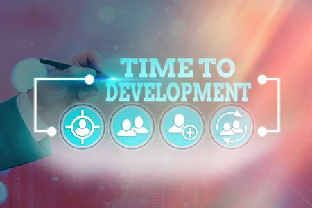 Word writing text Time To Development. Business photo showcasing a length of time during which a company grows or develop