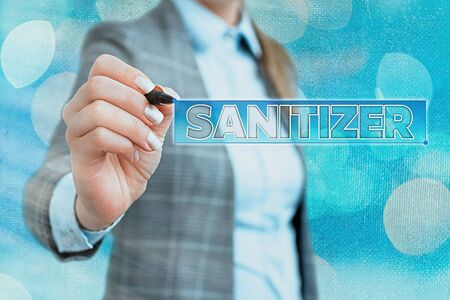 Word writing text Sanitizer. Business photo showcasing liquid or gel generally used to decrease infectious agents Foto de archivo