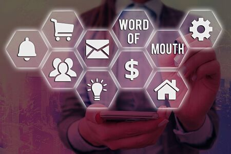 Word writing text Word Of Mouth. Business photo showcasing information that is transmitted without being written down 免版税图像