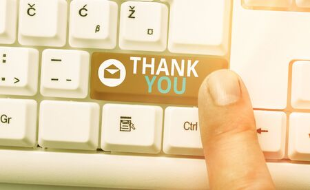 Conceptual hand writing showing Thank You. Concept meaning a polite expression used when acknowledging a gift or service Imagens