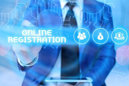 Word writing text Online Registration. Business photo showcasing System for subscribing or registering via the Internet
