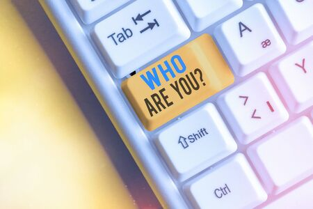 Text sign showing Who Are You Question. Business photo showcasing asking an individual identity or an individualal information Фото со стока
