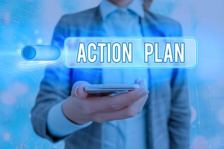 Text sign showing Action Plan. Business photo showcasing detailed plan outlining actions needed to reach goals or vision