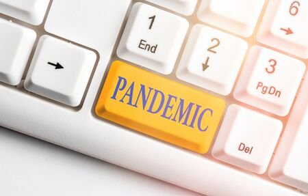 Writing note showing Pandemic. Business concept for occurring over a wide area affecting high proportion of population Фото со стока