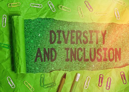 Handwriting text writing Diversity And Inclusion. Conceptual photo range difference includes race ethnicity gender Archivio Fotografico