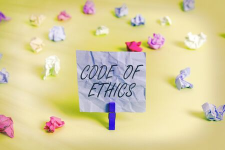 Handwriting text Code Of Ethics. Conceptual photo basic guide for professional conduct and imposes duties