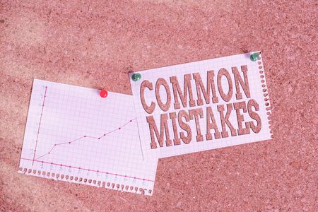 Conceptual hand writing showing Common Mistakes. Concept meaning actions that are often used interchangeably with error Corkboard size paper thumbtack sheet billboard notice board