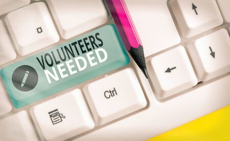 Conceptual hand writing showing Volunteers Needed. Concept meaning need work or help for organization without being paid