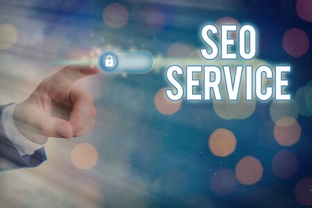 Conceptual hand writing showing Seo Service. Concept meaning techniques and procedures to increase the website visibility Imagens