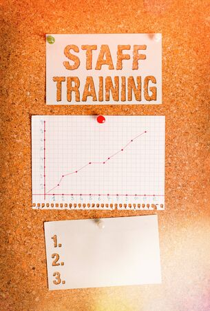 Text sign showing Staff Training. Business photo showcasing program that helps employees learn specific knowledge Corkboard color size paper pin thumbtack tack sheet billboard notice board