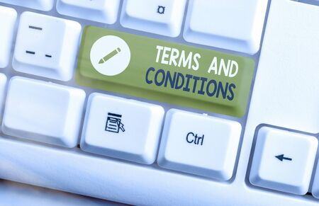 Word writing text Terms And Conditions. Business photo showcasing rules that apply to fulfilling a particular contract