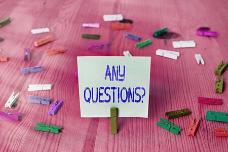 Conceptual hand writing showing Any Questions Question. Concept meaning you say write order to ask an individual about something