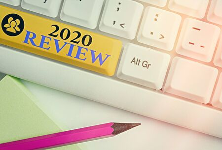 Text sign showing 2020 Review. Business photo showcasing New trends and prospects in tourism or services for 2020