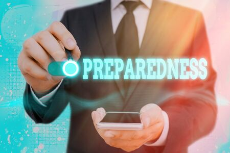 Word writing text Preparedness. Business photo showcasing quality or state of being prepared in case of unexpected events