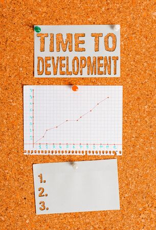 Text sign showing Time To Development. Business photo showcasing a length of time during which a company grows or develop Corkboard color size paper pin thumbtack tack sheet billboard notice board Stock Photo